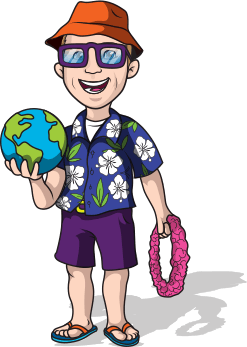 Animation of Dr. Ryne Paulson wearing a Hawaiian shirt