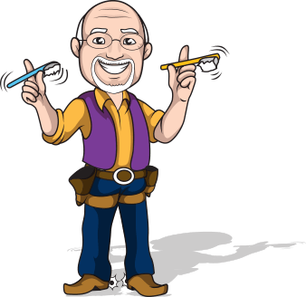 Animation of Dr. Roy with tool belt holding toothbrushes