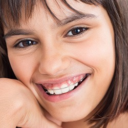 Closeup of young girl with oral appliance in place