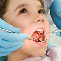Young child at first dental appointment