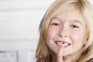 Child with missing baby tooth