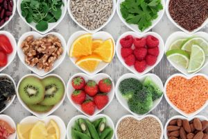 Heart-shaped bowls of healthy food recommended by Casper children's dentist